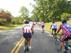 Riders of Ride 2 Recovery move through the final miles of the 62 mile trek from Fredericksburg, Virginia to Glen Allen, Virginia.